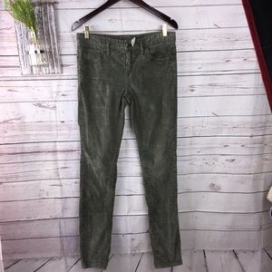 Free people All of green corduroy skinny pants 29